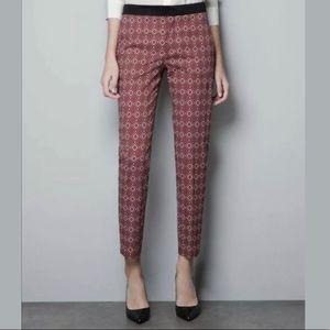 Zara Woman   Ankle Pants Geometric Print Stretch